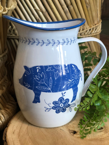 White Enamel Pig Pitcher