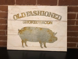 Old Fashioned Smoked Bacon Wood Wall Decor