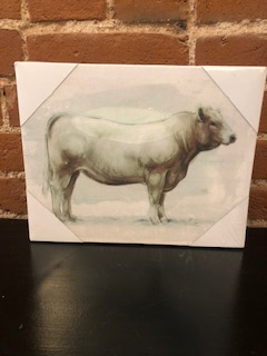 "8x7"" White Canvas Cow"