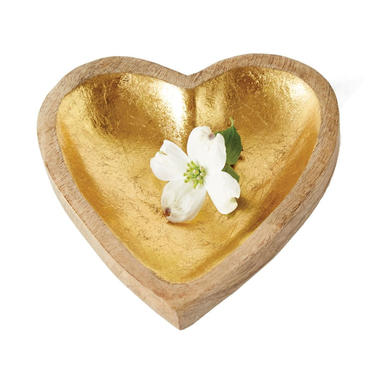 "8"" Gold Wood Heart Tray"