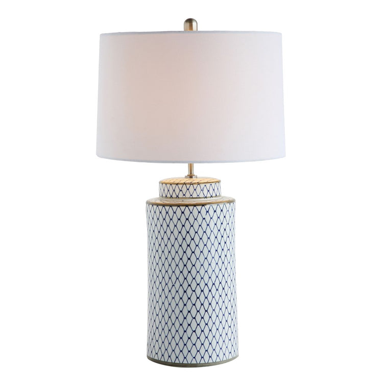 Ceramic Table Lamp w/ Linen Shade, Indigo/White
