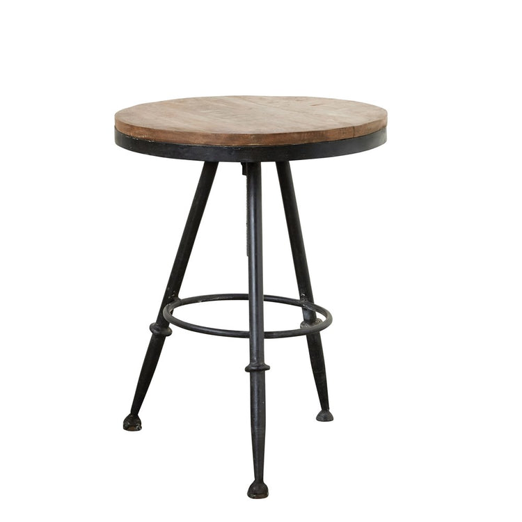 Side Table, Round Mango Wood, Black Metal Base,  Adjustable