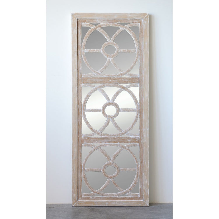 White Wash Wood Mirror