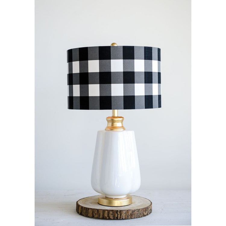 Ceramic Table Lamp w/ Linen Checked Shade