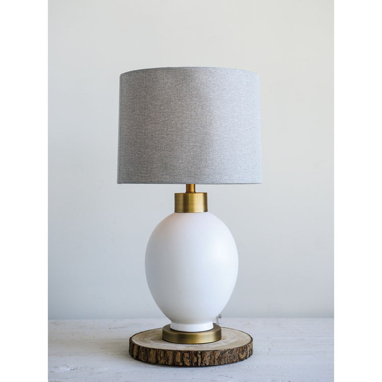 Ceramic Table Lamp w/ Grey Fabric Shade