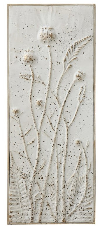 Metal Wall Decor w/ Embossed Flowers, Distressed White Finish