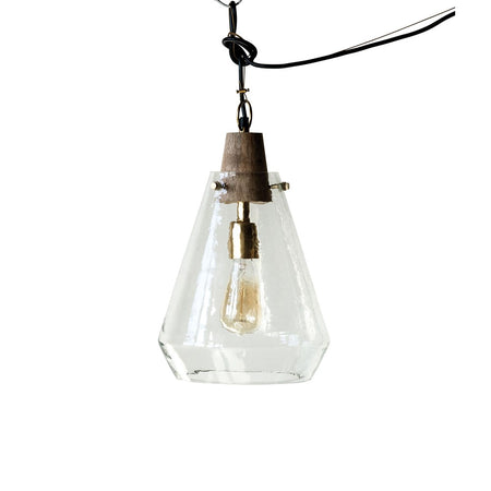 Wood & Hand-Blown Glass Pendant Lamp