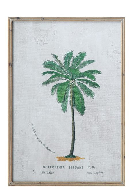 Wood Framed Wall Decor w/ Palm Tree
