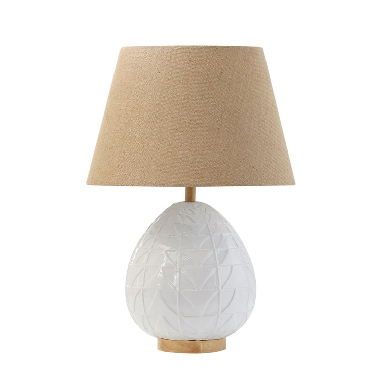 White Cermaic Embossed & Wood Table Lamp w/ Linen Shade