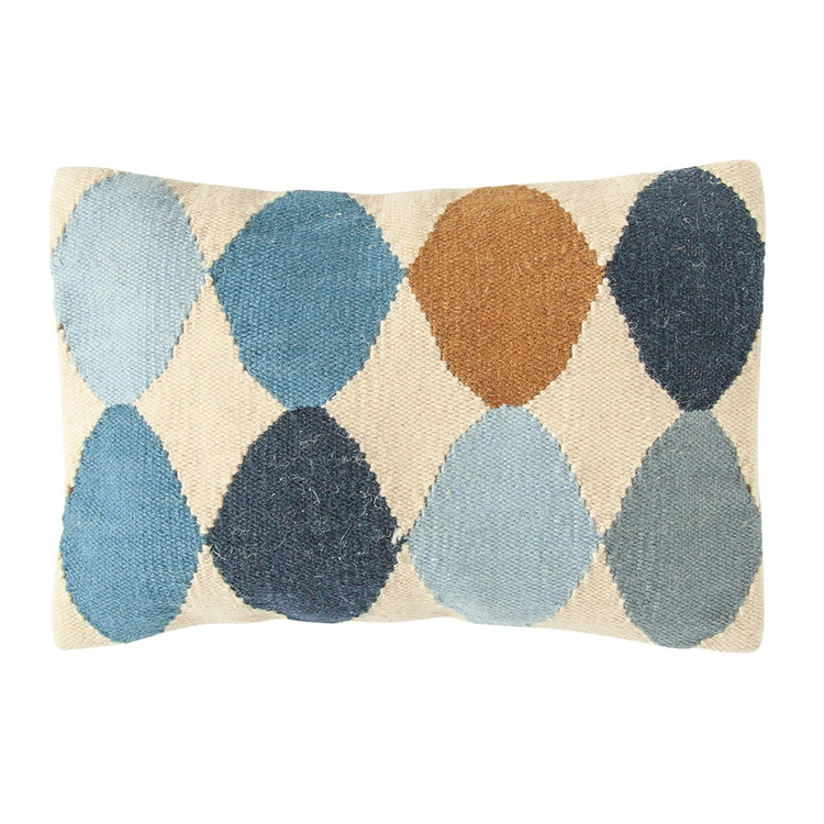 "26x16"" Blue Multi Wool Blend Pillow"