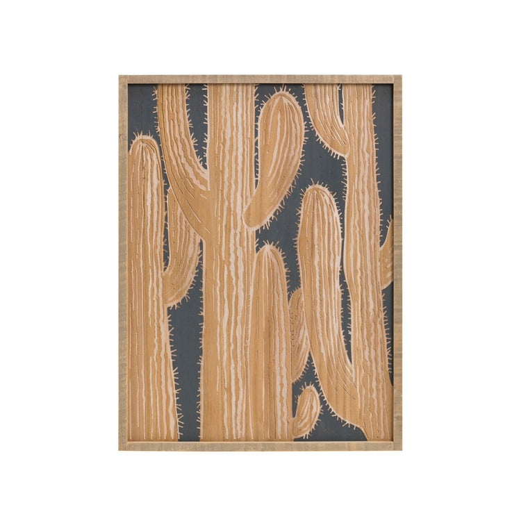 Wood Framed Engraved Wood Wall Decor w/ Cacti
