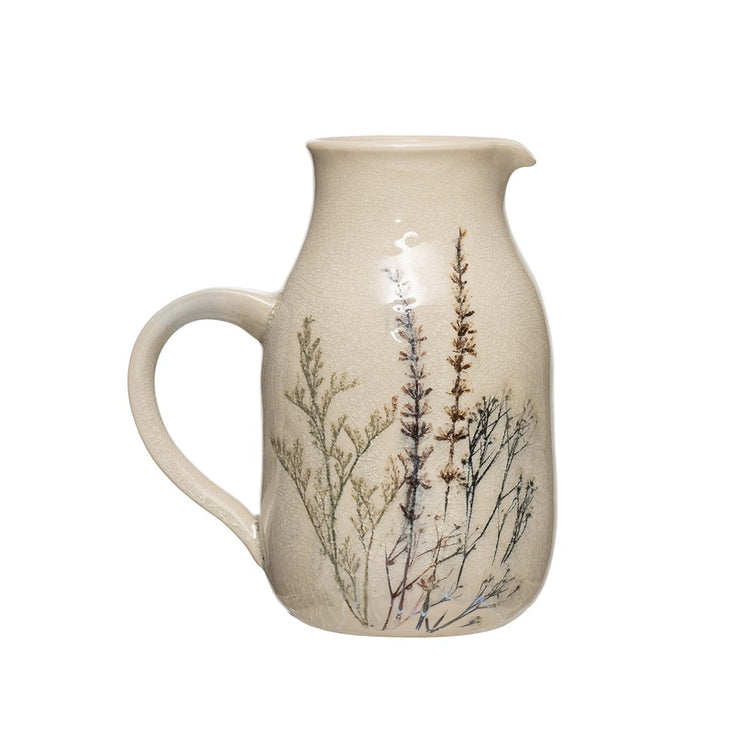 Stoneware Floral Pitcher