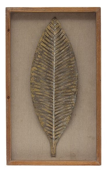 Wood Framed Wall Decor w/ Metal Leaf, Antique Gold Finish