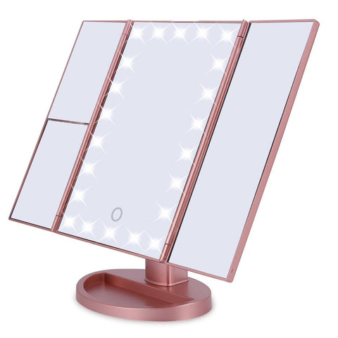 Tri-Fold 22 LED Lights 2X 3X Magnification Touch Screen Desktop Makeup Mirror