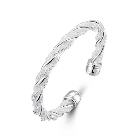 Mesh Twist Bangle in 18K White Gold Plated