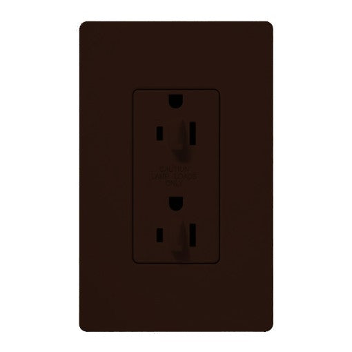 Lutron Claro 15A Tamper Resistant Receptacle - Dual Dimming - Brown