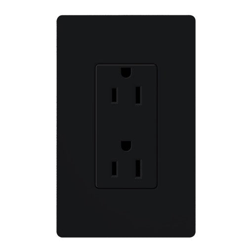Lutron Claro 15A Tamper Resistant Receptacle - Black