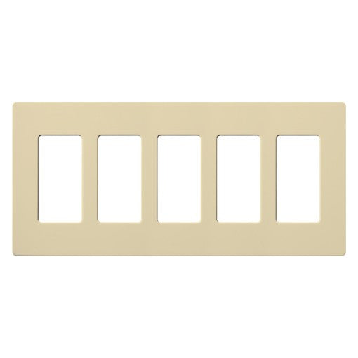 Lutron Claro Screwless Wallplate - 5-Gang - Ivory