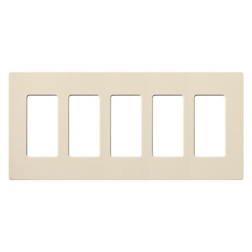 Lutron Claro Screwless Wallplate - 5-Gang - Light Almond