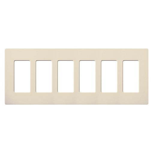Lutron Claro Screwless Wallplate - 6-Gang - Light Almond
