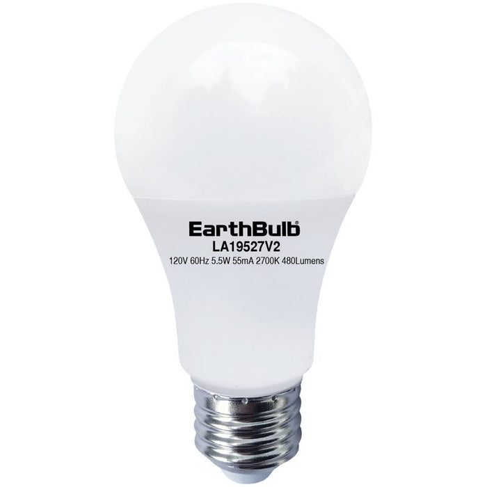 EarthTronics 5.5 Watt LED A19 - 2700K - 480 Lumens - 120V