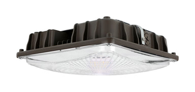 Square LED Canopy 40W, 5450 Lumens, 120-277Vac 1-10V Dimming, Ra70 5000K, Clear Lens, Dark Bronze