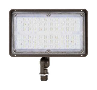LED Flood Light 27W, 3600LM, 120-277V, 5000K, 7H*6V, Knuckle Mount, Dark Bronze