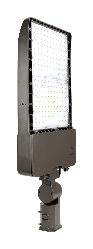 "LED Site Area Flood Light - ""Shoebox"" - 150W, 22000LM, 120-277V 1-10 DIM, 5000K, Type 3, Slipfitter Mount, Dark Bronze"