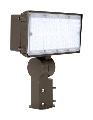 LED Flood Light 100W, 120-277Vac Dim, Ra70 5000K 7H6V, Yoke Mount Dark Bronze