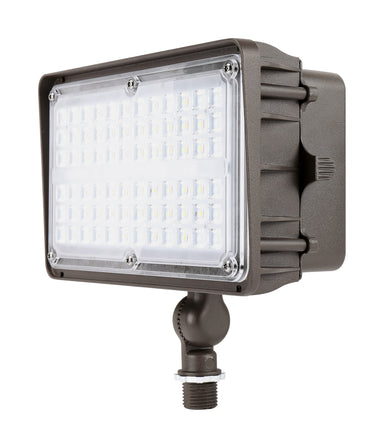 LED Flood Light 45W 5650LM 120-277VAC NIS L130 5000K Ra70 7H*6V Dark Bronze knuckle mount
