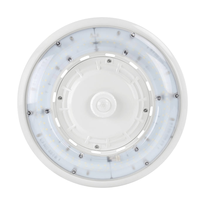 Round LED High Bay Light - 180W, 24000LM, 120-277Vac Dim, Ra70 5000K Frosted Lens, White