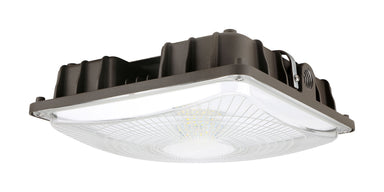 Square LED Canopy - 60W, 8000LM, 120-277V 1-10V DIM, 5000K, Clear Lens, Dark Bronze
