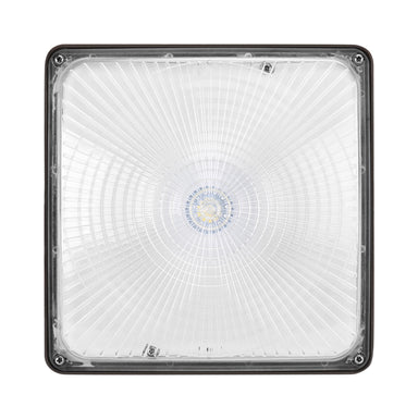 Square LED Canopy - 27W, 3800LM, 120-277V Non-Dimmable, 5000K, Clear Lens, Dark Bronze