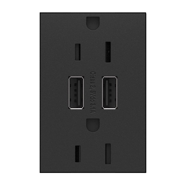 Adorne Dual USB, Plus-Size Combo Outlet - Graphite