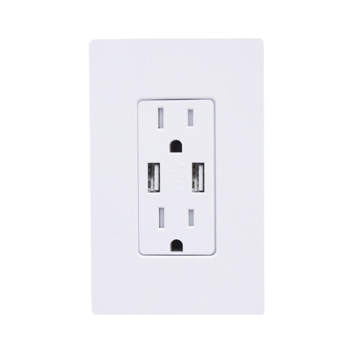Lutron Claro 15A Tamper Resistant Receptacle - Dual USB - Light Almond