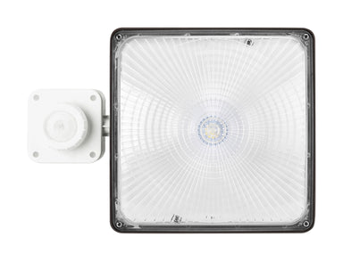 Square LED Canopy - 27W, 3800LM, 120-277V 1-10V DIM, 5000K, Clear Lens, Dark Bronze