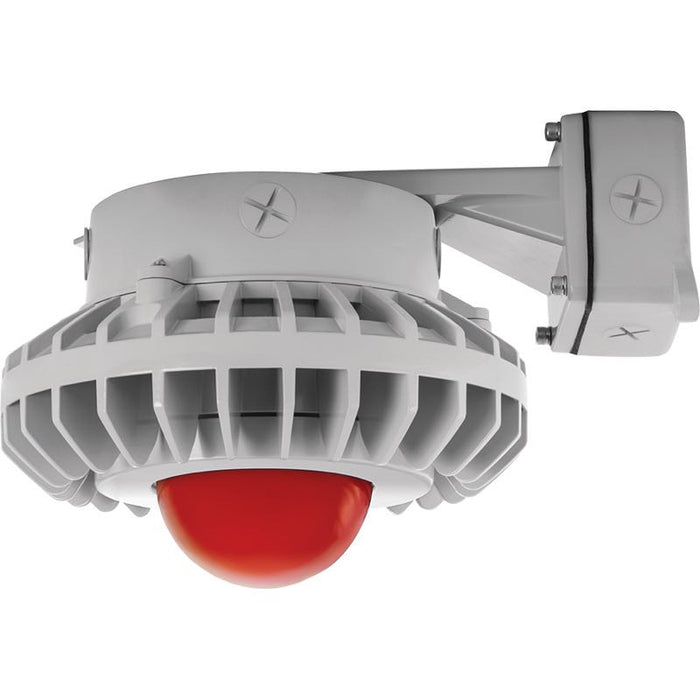RAB 80 Watt LED HAZ Vaporproof - Frosted Red Globe - No Guard - Wall Mount - 5000K - 120-277V - Gray