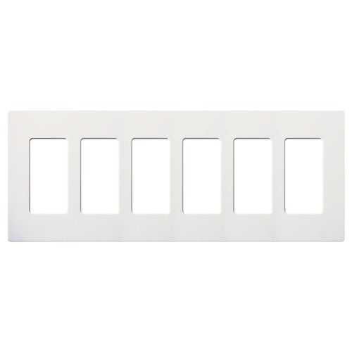 Lutron Claro Screwless Wallplate - 6-Gang - Snow