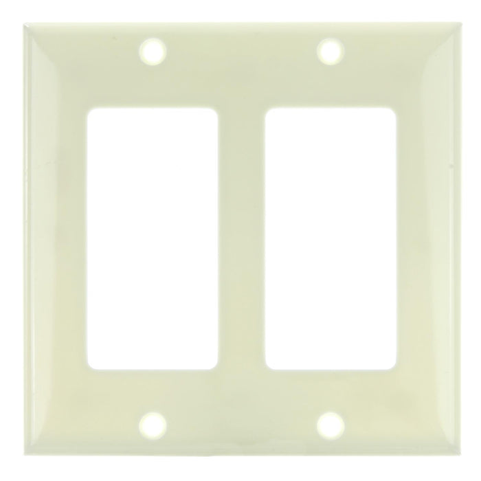 Sunlite 50717-SU E302/A E302/A 2 Gang Decorative Switch and Receptacle Plate, Almond