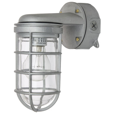Sunlite 04902-SU VTA100 Wall Mount Vaporproof Industrial Fixture, Metallic Finish, Clear Lens,  Aluminum wires