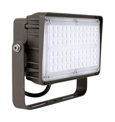 LED Flood Light 100W, 120-277Vac Dim, Ra70 5000K 7H6V, Slipfitter Mount Dark Bronze