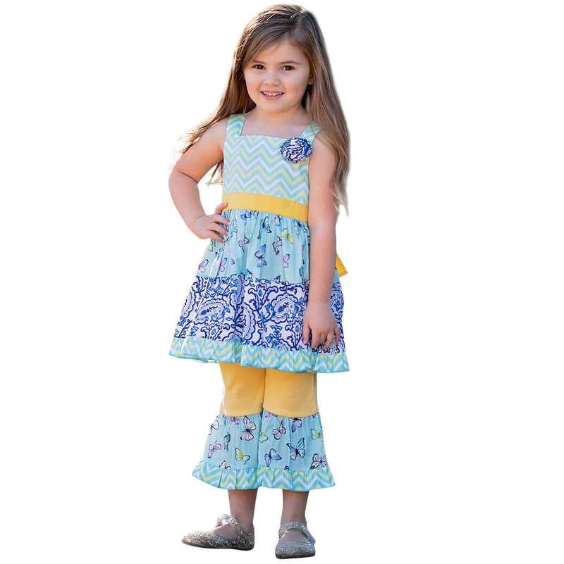 AnnLoren - Girls Blue Butterfly Paisley Dress & Capri Spring Outfit