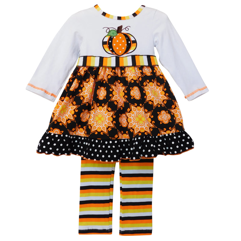 AnnLoren - Girls Halloween Dress & Striped leggings Autumn Outfit