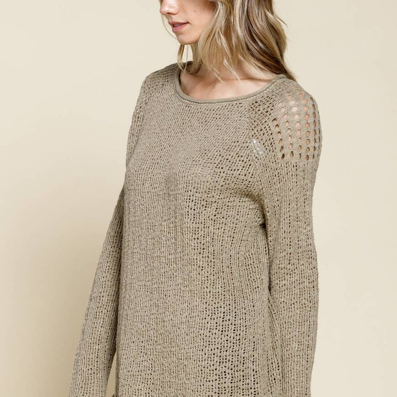 Curled Edge Detail Sweater