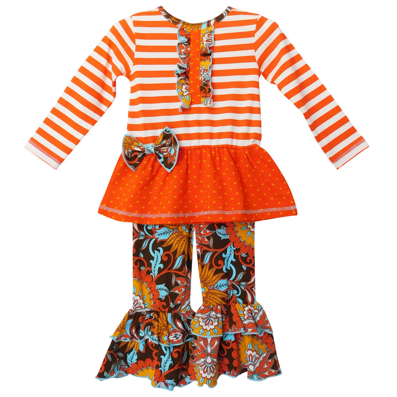 AnnLoren - Girls Goldie Autumn Floral & Stripes Outfit