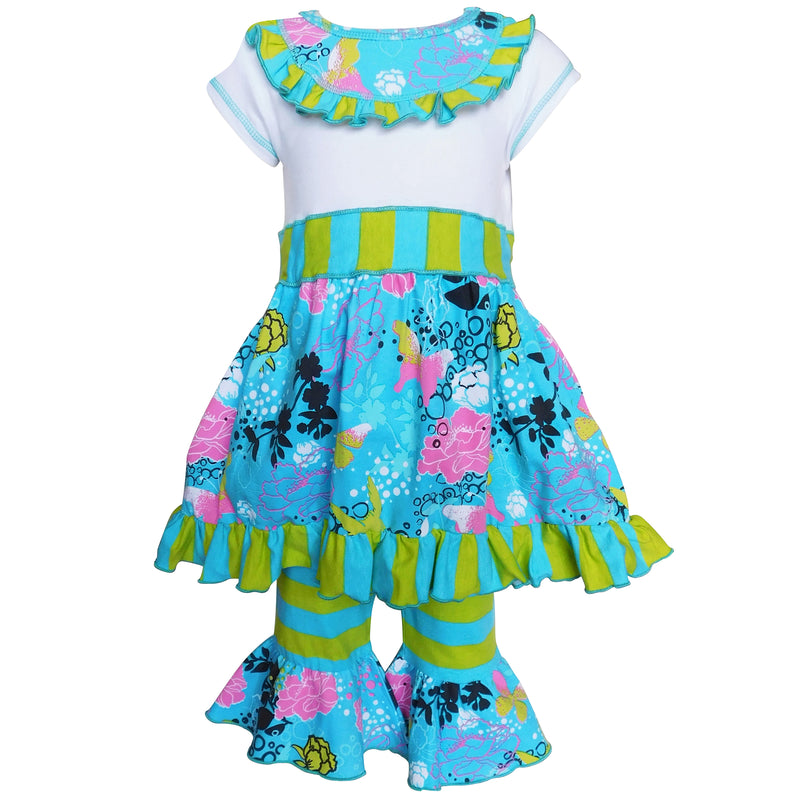 AnnLoren - Girls Boutique Butterfly & Stripes Dress Outfit