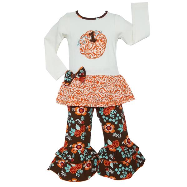 AnnLoren - Pumpkin Patch Autumn Floral Thanksgiving Outfit