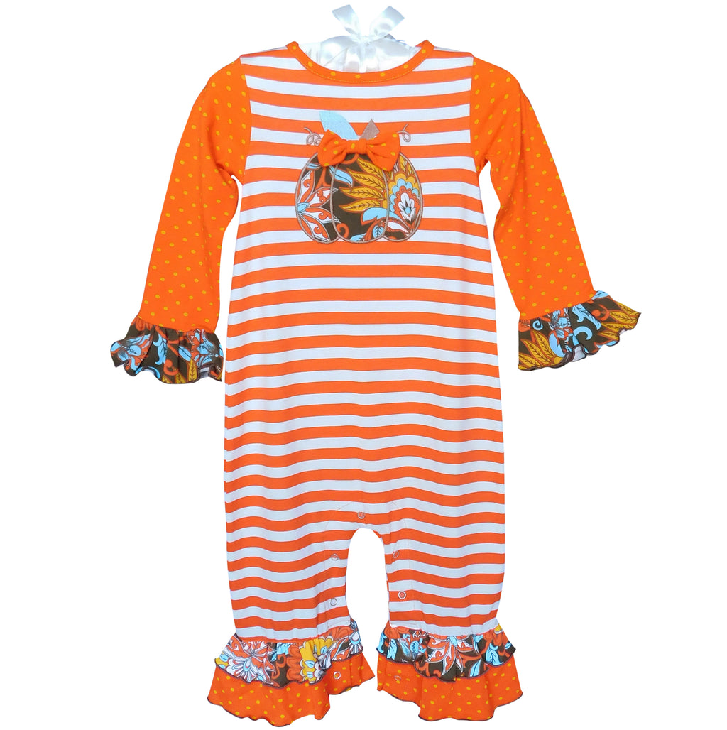 AnnLoren - Baby Girls Autumn Pumpkin Striped Romper