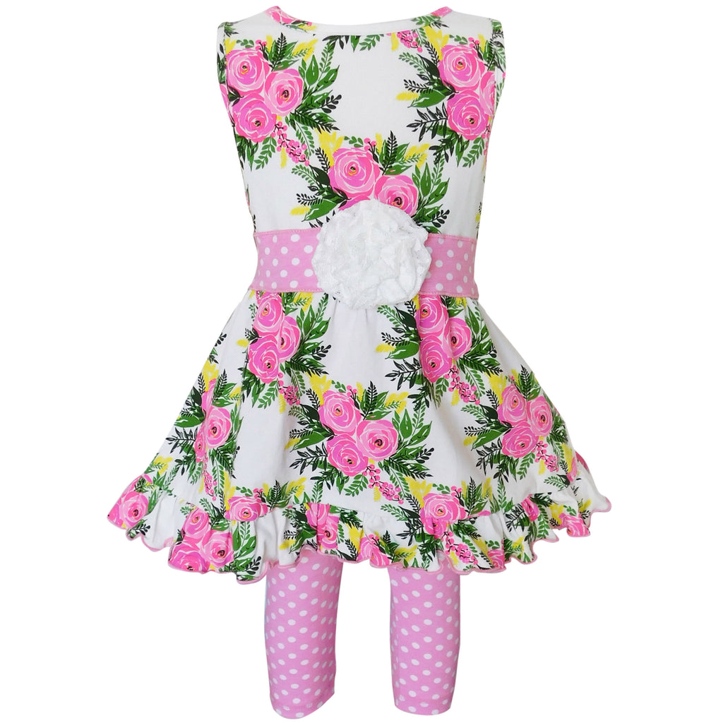 AnnLoren - Girls Spring Rose Shabby Floral Dress & Capri Legging Outfit