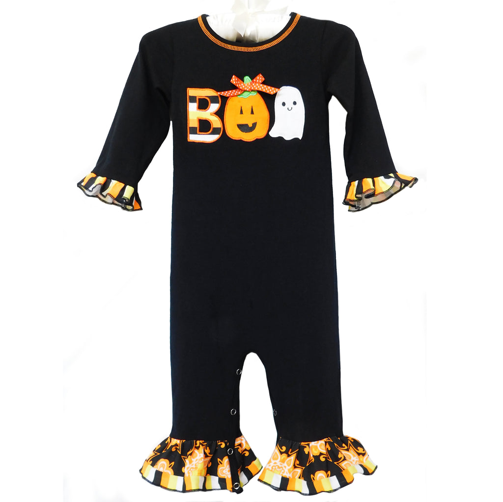 AnnLoren - Baby Girls Black & Orange Boo Halloween Romper